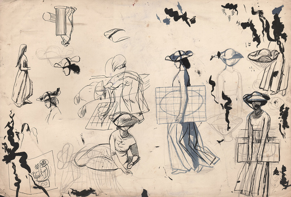 Artist Evelyn Dunbar: Studies for Mercatora, an allegorical painting (whereabouts unknown) [HMO 173]