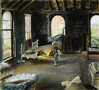 Artist Catherine Olive Moody: Bedroom of a derelict house, 1958