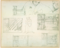 Artist Winifred Knights: Sheet of studies for design of wall decoration