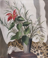Artist Mary Adshead: Still-life of Red Lily with Leopard Skin