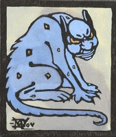 Artist Marion Wallace Dunlop: A Glaring Demon, (blue and yellow) from Devils in Diverse Shapes, circa 1906
