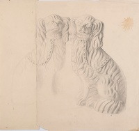 Artist Marion Adnams: Study of two Staffordshire Dogs, circa 1930