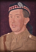 Artist Margaret Gere: Portrait of the artists brother Robert Gere in his uniform of the Kings Own Scottish borderers (2nd Lieut), circa 1917