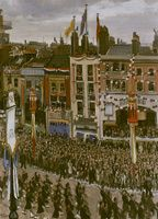 Artist Laura Knight: The Queens Coronation Ceremony passing along Oxford Street, 1953